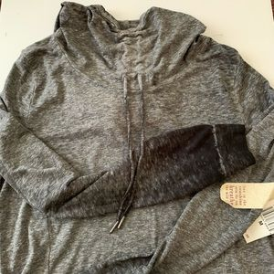 Pink Lotus Ruched Pullover Yoga Hoodie • Charcoal